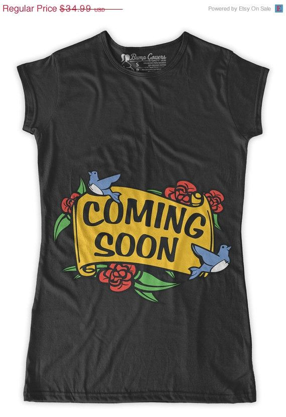 Coming Soon Maternity T-Shirt Clothes Top - Full Color flowers and banner Classic rock punk look - Made From Bamboo - SUPER SOFT & Stretchy on Etsy, $29.99