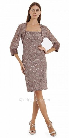 Sequined Lace Cocktail Dresses with Jacket by JS Collection-image#edressme