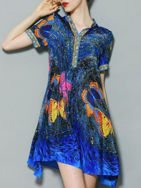 Shop Mini Dresses - Printed V-neck Swing Mini Dress online. Discover unique designers fashion at StyleWe.com.