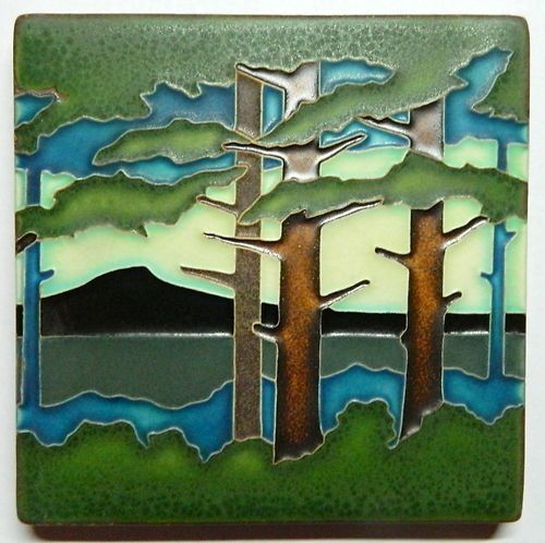 "Motawi Art Tile 6"" X 6""  Pine Landscape Mountain Ceramics Pottery"