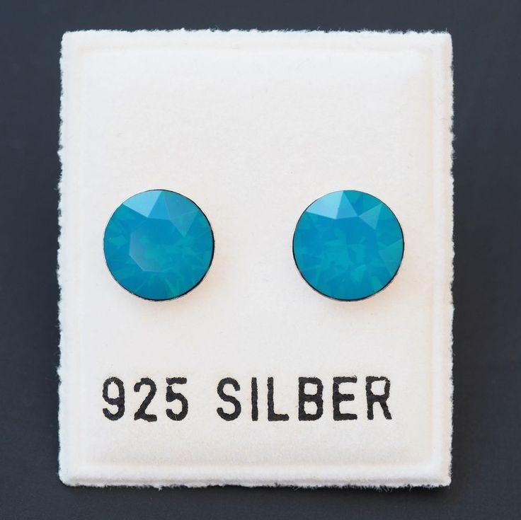 NEU 925 Silber OHRSTECKER 8mm SWAROVSKI STEINE caribbean blue opal/blau OHRRINGE-£9,99-magoshop1