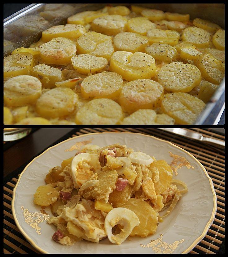 """""""Francouzské"""" brambory. Ale děláme je trochu jinak, především do nich dáváme dohněda orestovanou cibulku, místo uzeného kvalitní klobásky, kostičky ementálu (a natrouhaný nahoru) a místo smetany dáváme mléko."""