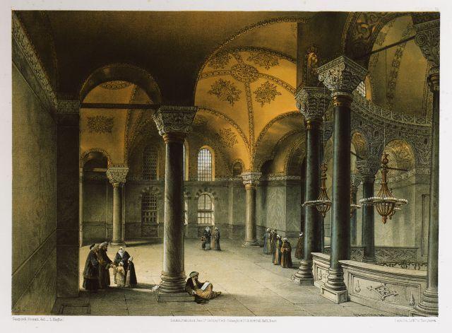 Αγία Σοφία Κωνσταντινούπολης: Άποψη τμήματος του υπερώου στα ανατολικά. - FOSSATI, Gaspard - ME TO BΛΕΜΜΑ ΤΩΝ ΠΕΡΙΗΓΗΤΩΝ - Τόποι - Μνημεία - Άνθρωποι - Νοτιοανατολική Ευρώπη - Ανατολική Μεσόγειος - Ελλάδα - Μικρά Ασία - Νότιος Ιταλία, 15ος - 20ός αιώνας