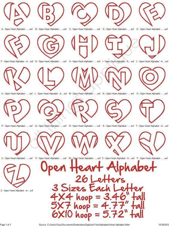 Open hart stoffen alfabet 26 Letters 3 door allthingsapplique