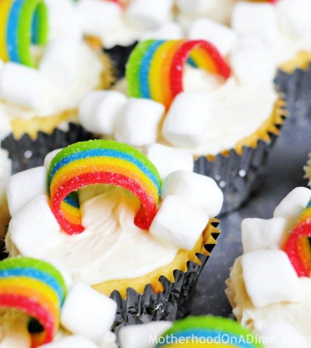 """Rainbow cupcakes - add a little blue coloring to the frosting for a """"sky"""""""