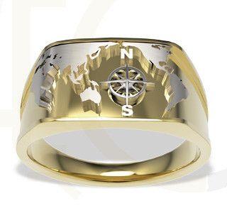 Sygnet Morski z żółtego i białego złota / Signet ring marine made from yellow and white gold / 2313 PLN #signet_ring #gold #zloto #jewellery #jewelry #man #bizuteria #sygnet