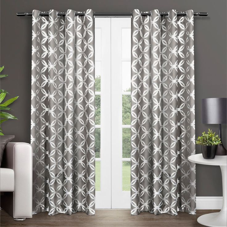 ati home modo metallic grey print grommet top curtain panel pair modo indigo 96inch size 96 inches all synthetic geometric