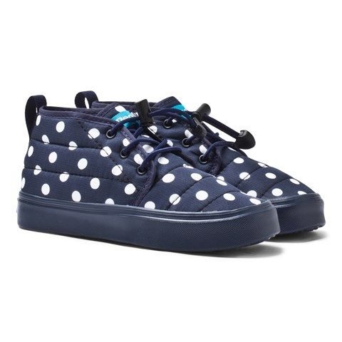 Little People Navy Polka Dot Water-Resistant Padded Ankle Boots