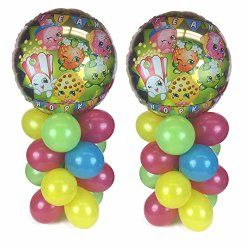 Shopkins Balloon Table Display Birthday Party – AIR FILL, NO HELIUM NEEDED! ~ 2 pack
