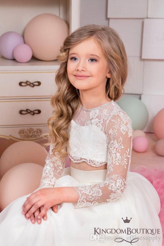 e64a98869539 2017 White Lace Two Pieces Boho Flower Girls Dresses for Beach Long ...