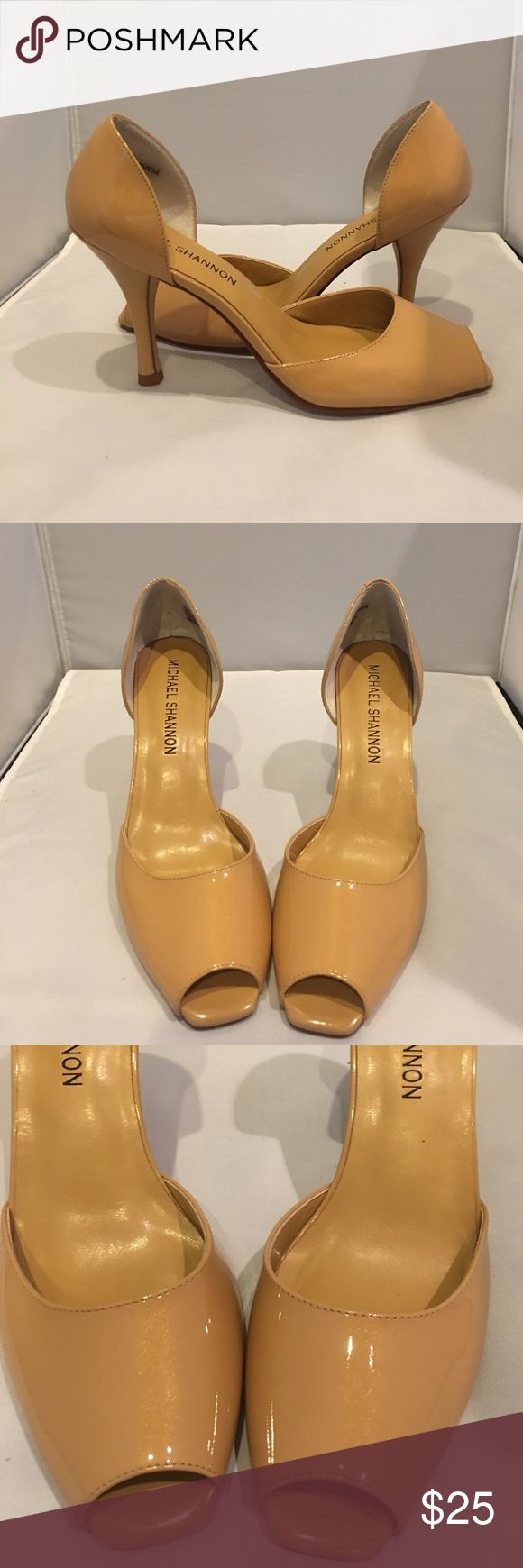 "Michael Shannon Camel Open Toed D'orsay Heels Michael Shannon camel, open-toe, D'orsay heels. All patent leather upper. Heel height measures 3.5"". Excellent never worn new condition. Original box and shoe bag. True to size. Michael Shannon Shoes Heels"