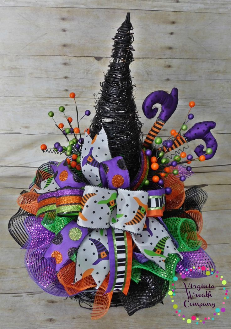 witch hat centerpiece halloween centerpiece deco mesh witch hat halloween - Halloween Centerpieces