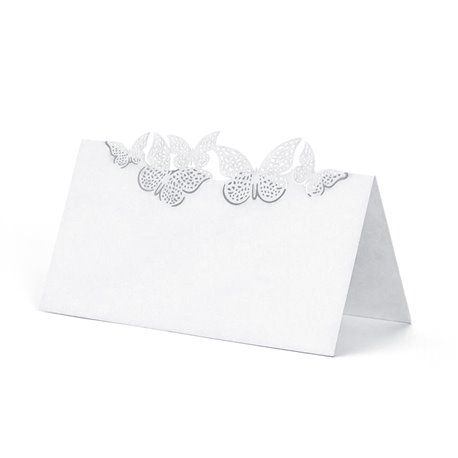 Dobbelt bordkort med lekre sommerfugler  - 10 stk - Hvite
