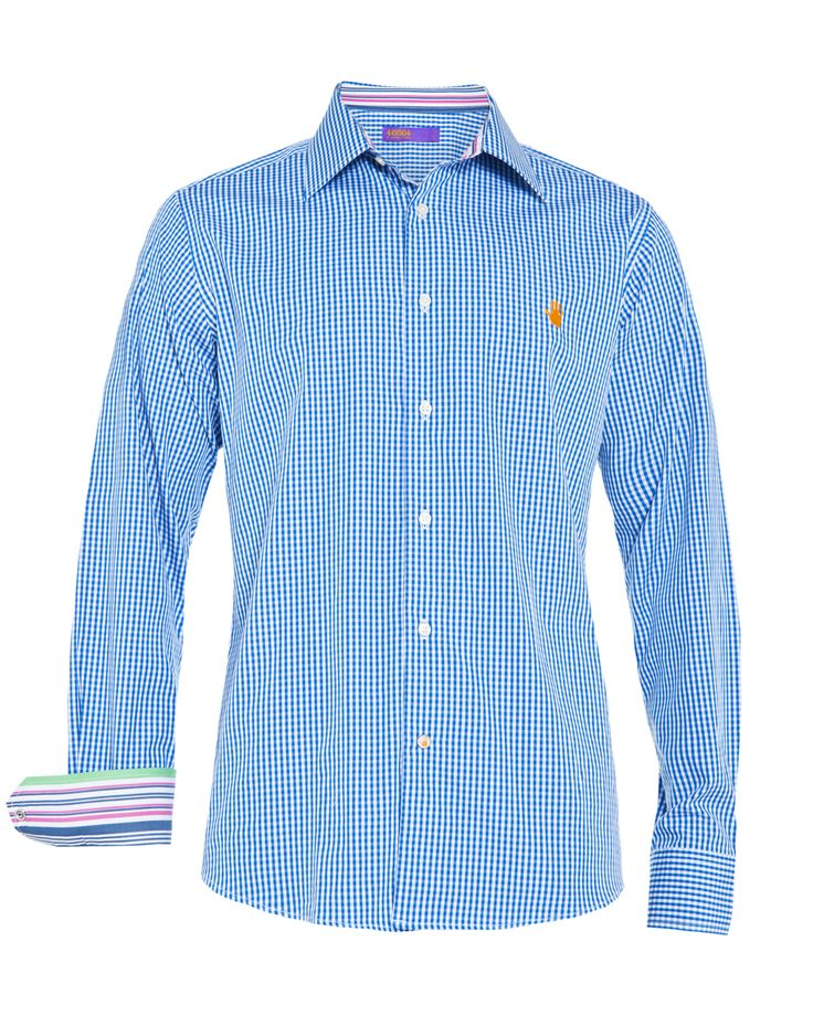 Men's blue small check shirt, available at www.46664fashion.com