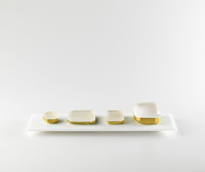 Andrea Walsh / Collection of Faceted Boxes / Fine Bone China with 22ct Burnished Gold and Clear Glass / Courtesy Galerie Mouvements Modernes