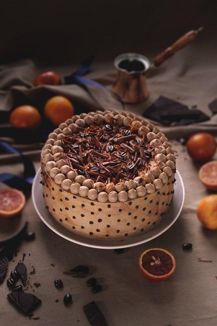 Mokkatorte mit Blutorangen/Mocha Cake With Blood Orangens