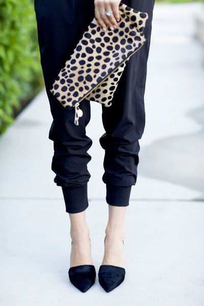 just got a pair of pants similar to these but they're silk taupe...so comfortable and obviously perfect with a black top!