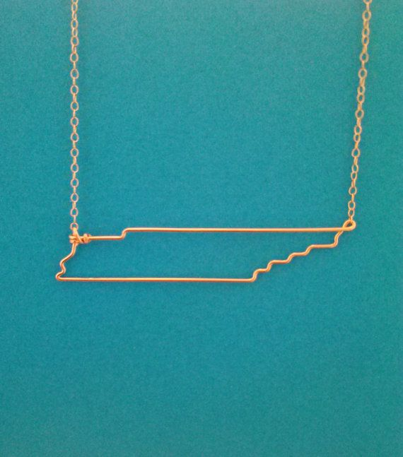 Tennessee State Necklace in gold. Etsy.