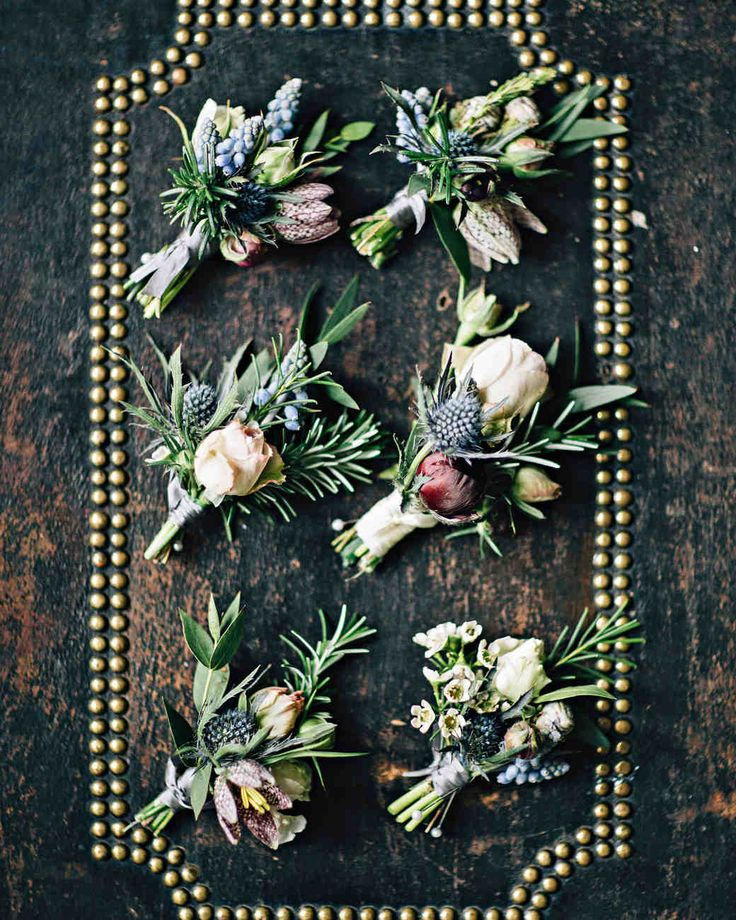 A Wedding Inspired by the Coast of Ireland | Martha Stewart Weddings - The groom and groomsmen pinned boutonnières of rosemary, thistle, spray roses, and ranunculus to their lapels.