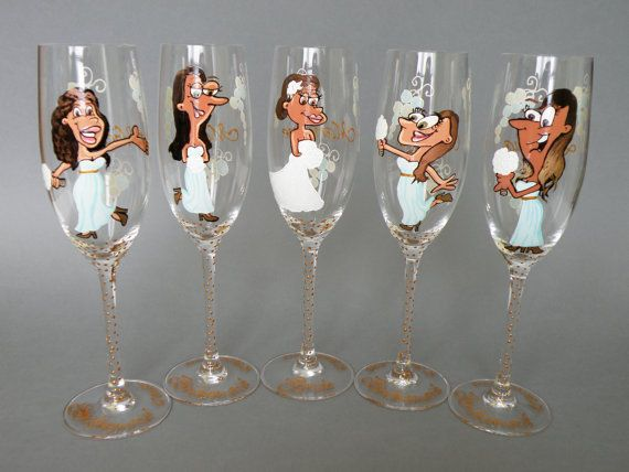 Bridal shower party Custom Wine or Champagne Glasses by pastinshs, $24.50