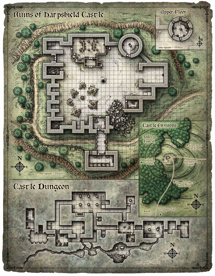 Ruins Of A Castle, With Upperfloor Tower, A Dungeon, And A