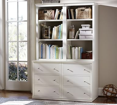 Logan Bookcase with Drawers #potterybarn