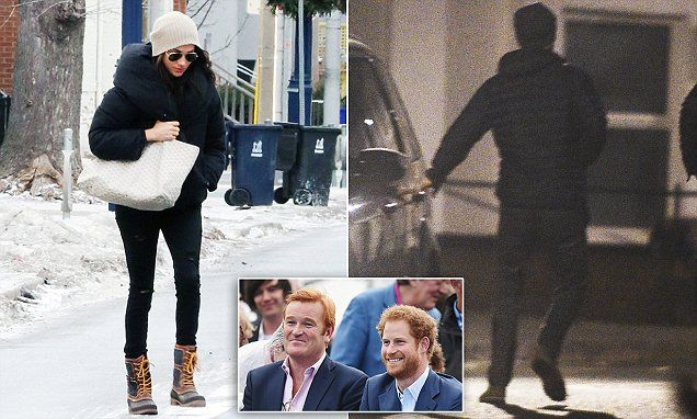 Prince Harry's drinks with his 'second father' as Meghan wraps up warm