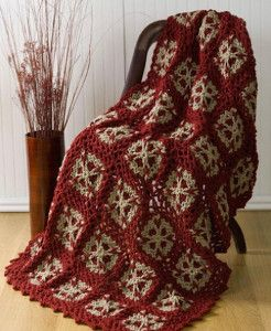 Get a country-Christmas look with the Christmas Snowflakes Crochet Blanket Pattern. A rich, Cabernet red is the perfect color to add a little seasonal spice to any room.