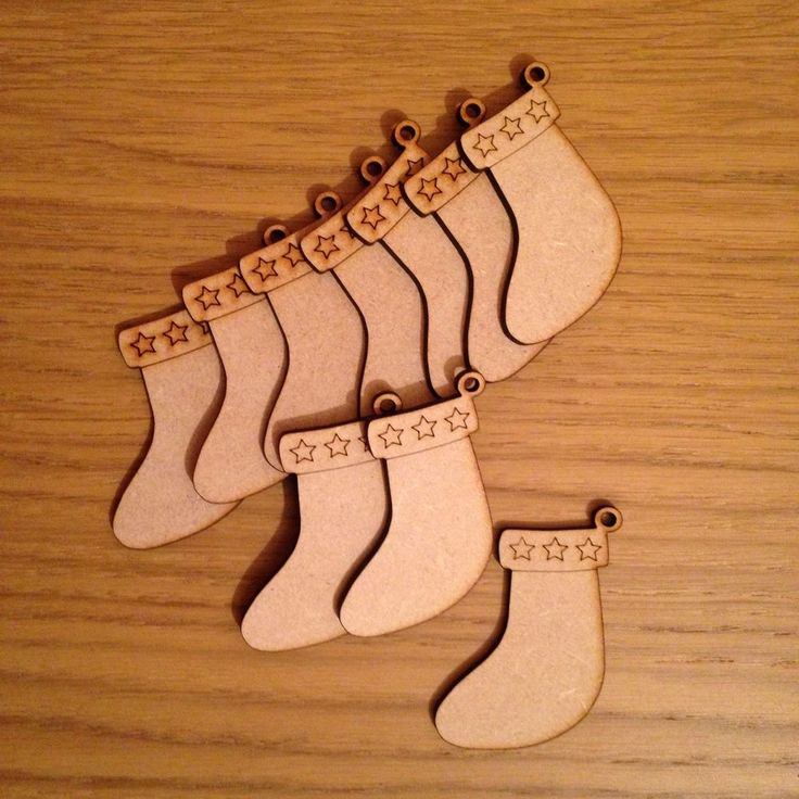 3,44+4,36 10x Wooden Mdf Christmas Craft Shape Blank Stocking