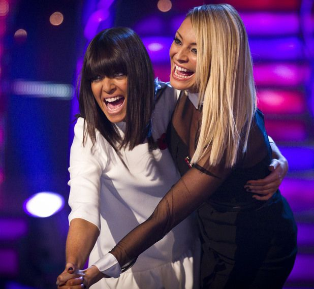Strictly Come Dancing Claudia Winkelman with her iconic fringe and Tess Daly with a slick, bone straight look.