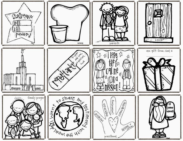 Conference bingo melonheadz lds illustrating designed by for Ctr coloring page lds