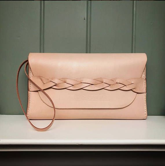 Handmade Full Grain Leather Clutch Braided Clutch Leather