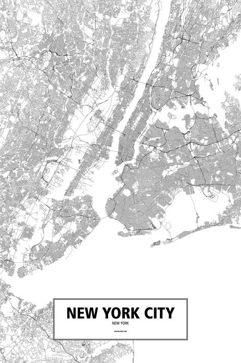 New York City, New York, United States poster - Routelines: detailed posters and prints of cities and their roads