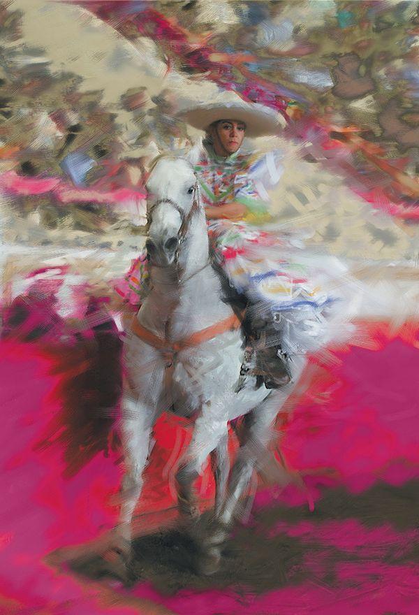"""Mexican tradition by Emilio Garcia Salazar ~Isabel rides in the """"Escaramuza"""""""