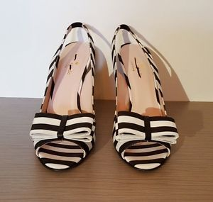 Kate Spade New York Slingback Heels In Striped Grosgrain Size 8.5