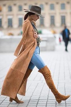 Alessandra Ambrosio wearing Hermes Brown Belt, Gianvito Rossi Rolling Over the Knee Boots, Balmain Suede Coat and Balmain Suede Self-Tie Coat