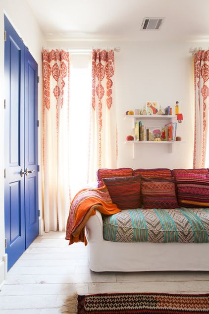 eclectic Moroccan interior, patterned curtains with Moroccan flair
