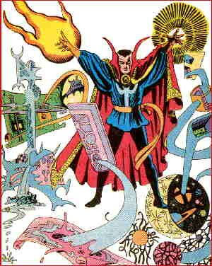 Doctor Strange draws on the power of many mystic dimensions. Artist: Steve Ditko.