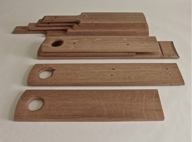 small cheese boards from wine barrels, french oak. design/made michael penck