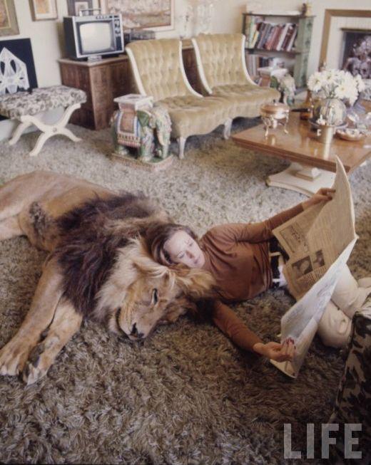 Tippi Hedren ed il suo leone domestico....