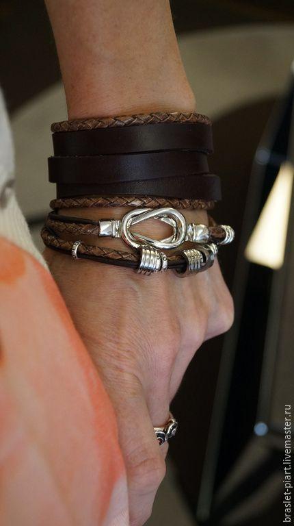 """Купить Комплект браслетов """"Галактика Водоворот"""" из кожи и металла. - коричневый, браслеты, браслеты из кожи"""