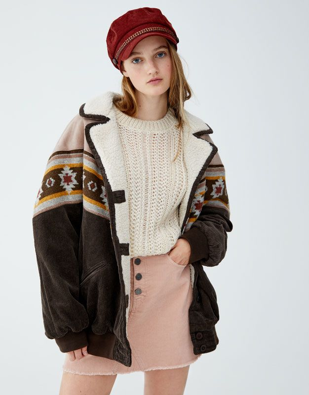Jacket With Patterned Panel Pale Brown Outerwear Women Winter Jackets Winter Fashion Outfits