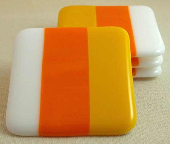 Fall Decor Coaster Set, Fused Glass Coaster Set on Etsy, $38.00