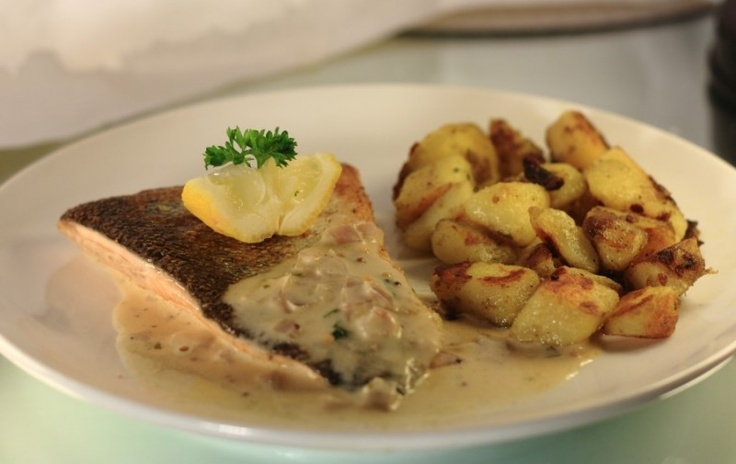 My sea-trout and fricasseed potatoes with a creamy white wine sauce.