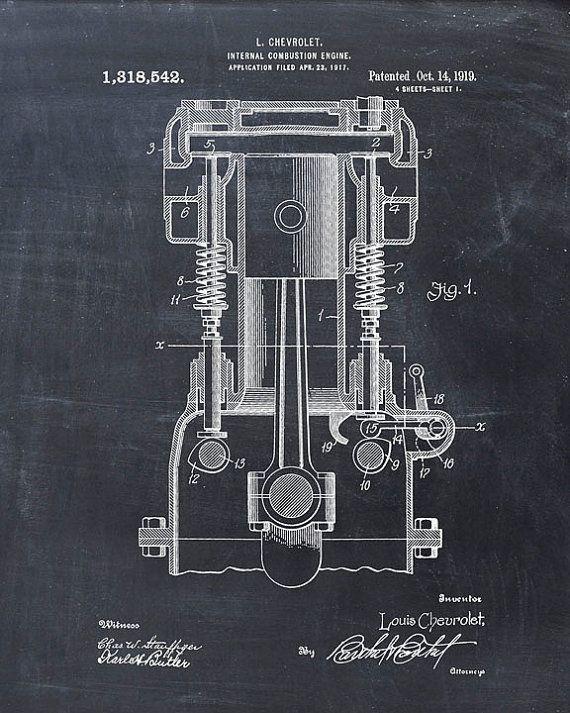 Chevrolet Internal Combustion Engine Patent Print From 1919 - Patent Art Print - Patent Poster - Wall Art - Engineer - Mechanic #patentartgifts
