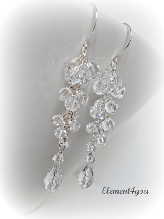 Bridal Crystal Earrings Clear Crystal Teardrop by Element4you, $32.00
