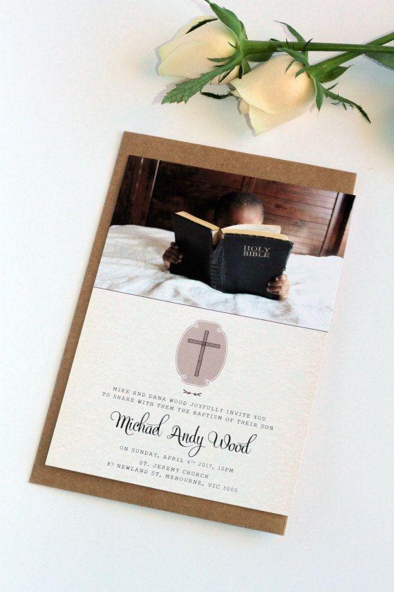 free online christening invitation making%0A Digital or Printed Boy or Girl Baptism or Christening Invitation  Rustic  Style  Premium Cardboard
