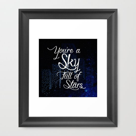 Lyrics from Coldplay's a Sky Full of Stars. Typography against a backdrop of stars