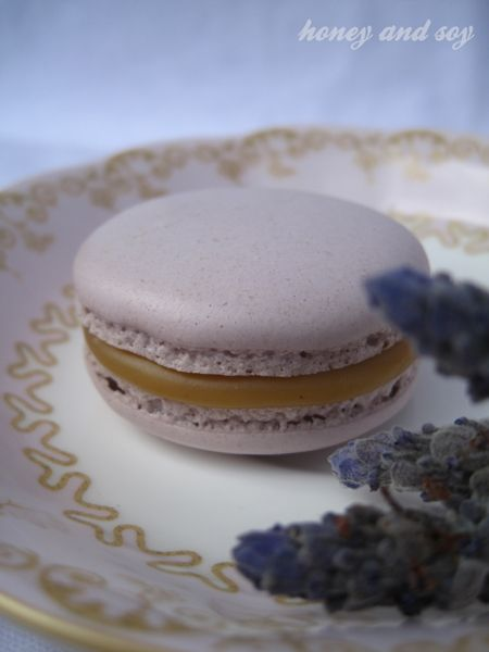 Lavender Grey macaron with lavender and Earl Grey infused ganache
