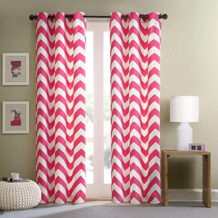 Intelligent Design Virgo Pink Chevron Window Curtain Panel (Set of 2) - Overstock Shopping - Great Deals on ID-Intelligent Designs Curtains